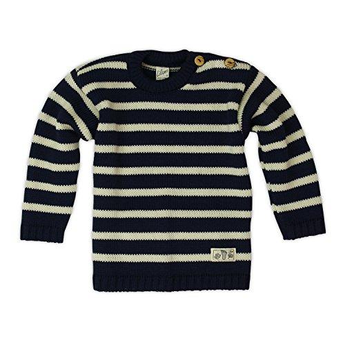 Lilano Strick-Pullover mit zwei Knöpfen, Farbe Blau-Natur, Größe 80 aus 100% Schurwolle kbT - Verkauf durch Wollbody® (100% Pullover Seide)
