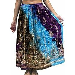 Colorido Womans Ladies indio Boho Hippie Gypsy verano vestido maxi verano de lentejuelas danza del vientre falda, Mujer, color 18, tamaño Regular