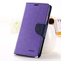First 4 Covers For Mi 4i Back Cover & Front Cover Wallet Diary Case (Purple)