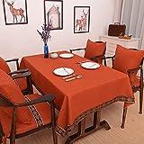 CCILOVE Mantel de lino estilo moderno minimalista encajes de paño de color sólido,naranja,90*90cm.