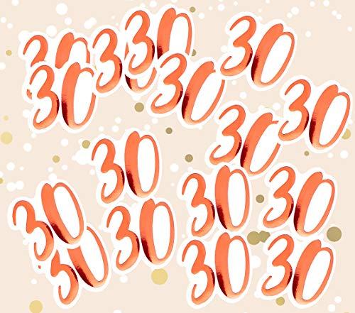 Confeti metálico Alandra Cumpleaños 30, Color Crema y Rosa, Talla 30