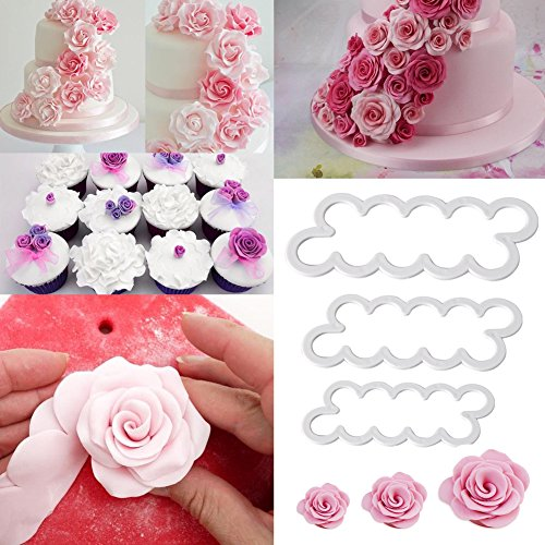 3pcs Emporte-Pieces Rose Petal Sugarcraft Moules A Patisserie Tampon Pour Decoration Gateaux Sugar Craft Patisserie Fondant