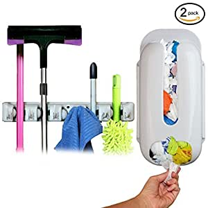 Teikis5 Slot Mop Broom Organizer, Wall Mount Grocery Bag Dispenser