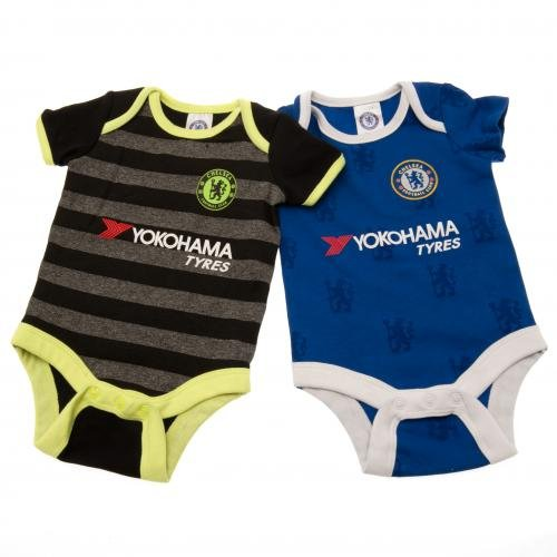 Official Chelsea FC Baby Kit Bodysuits - 2 Pack -...