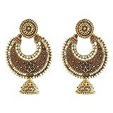 Ganapathy Gems Oxidised Brass Enamel Work Chandbali (8057)