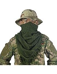 OneTigris algodón Shemagh árabes tácticos desierto Kufiyya pañuelo para la cabeza para los hombres y las mujeres, moda, hombre mujer, color verde, tamaño talla única
