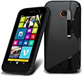 (Black) Nokia Lumia 630 / 635 Specialy Designed Protective S line Hydro Wave Gel Skin Case Cover, Retractable Touch Screen Stylus Pen & LCD Screen Protector Guard By Spyrox