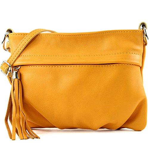 modamoda - ital. Ledertasche Umhängetasche Handtasche Klein Damentasche Nappaleder T32, Präzise Farbe:Gelb (Gelbe Stoff-handtaschen)