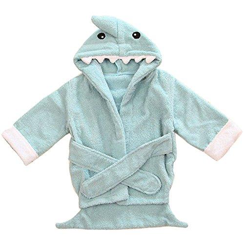 Kapuzenhandtuch Baby von Lexikind | kuscheliger Frottee Bademantel mit Tiermotiven | Babyhandtuch mit Kapuze | lustiges Kapuzenbadetuch (Hai blau)