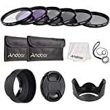 Andoer 52mm Lens Filter Kit UV+CPL+FLD+ND(ND2 ND4 ND8) With Carry Pouch/Lens Cap/Lens Cap Holder/Tulip & Rubber Lens Hoods/Cleaning Cloth