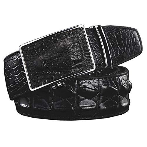 zencardery Cinturones de cuero genuino de moda para hombres Cocodrilo de lujo ancho Hebilla de aleación automática Cinturón de hombre Correa de piel de vaca de alta calidad Black 115cm