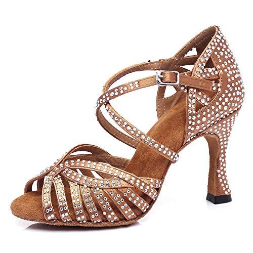 Mujer Satinado Rhinestone Metal Hebilla Zapatos De Baile Latino Salsa Samba Bachata Tango Modernos Fondo...