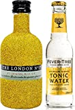Gin Tonic Bling Bling Mini Probierset - The London No 1 Gin 5cl (47% Vol) Glitzerflasche Gold + Fever-Tree Tonic Water 200ml -[Enthält Sulfite]