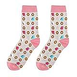 CLOOM Bunte Socken Baumwolle Socken Damen Dicke Essen Drucken Sportsocken Mode Sneaker Socken Damen Warmer Winter Socks Festlicher Baumwolle Socken Lustige Geschenke Kleid Socken (F)