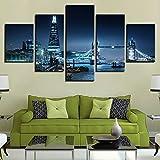Tela HD Stampa Home Decor City Building 5 Pezzi di Arte della Parete Immagini modulari per Living Room Artwork Poster Creativo