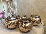 Satz von 4 runden Kürbis Quecksilber Glas Teelicht Kerzenhalter Hochzeit Weihnachten