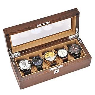 Wen Boîte de Rangement for Montres, Collection de Bijoux, Porte-Organisateur, boîte en Bois for Collection de Montres en Bois (Color : A)