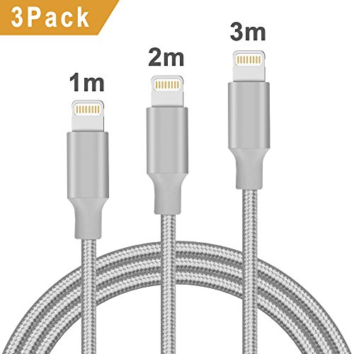 Quntis Phone Ladekabel 1M 2M 3M Apple Kabel Lebenslange Garantie Hohe Qualität Lightning USB Kabel iPhone 8/X/7/7 Plus/8 Plus/6s/6s Plus/6/6Plus/5/5S/5C/SE iPad(Grau)