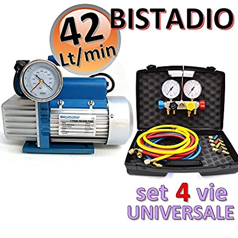 Vakuumpumpe 2 STUFIG 42 L/MIN + 4 WEGE MONTEURHILFE R410A R407C R22 (Attacchi Su Corpo Elettrovalvola)