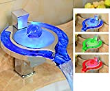 GZD All-Copper Bad Waschbecken Wasserhahn, LED intelligente Beleuchtung kreative Temperaturregelung variablen Wasserfall einzigen Loch heiß und kalt Wasserhahn
