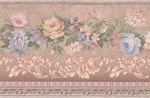 Retro Art Blau rosa Beige Blumen Vögel Beeren Vintage Floral Tapete Grenze Retro-Design, Roll-15' x 5'' Vogel-grenze
