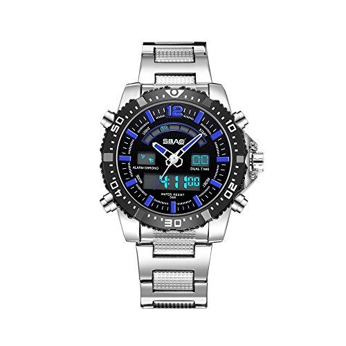 a157c2cd033f HWCOO SBAO Relojes Reloj de Banda Doble de los Hombres Multifuncional Reloj  de los Hombres de