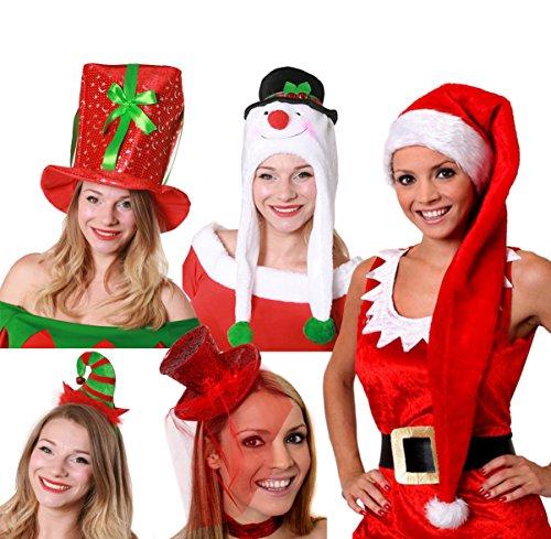 Elf Kostüm Weihnachtsgeschichte - ILOVEFANCYDRESS Weihnachts 5 HÜTE+MÜTZEN=ZUBEHÖR Party Weihnachtsmarkt=BEINHALTET -Geschenk Hut+SCHNEEMANN MÜTZE+Lange WEIHNACHTSMÜTZE+ROTER FACHINATOR Zylinder AN Haarband+ELF HÜTCHEN AN Haarband