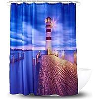 Cortina de la ducha XINGUANG Impermeable Poliéster PA Revestimiento Impresión Digital 3D Faro Faro Cortina de baño Partition180cm Cortina