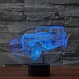 Lumière de nuit 3D acrylique voiture forme lampe de table lampe de chevet chambre créative