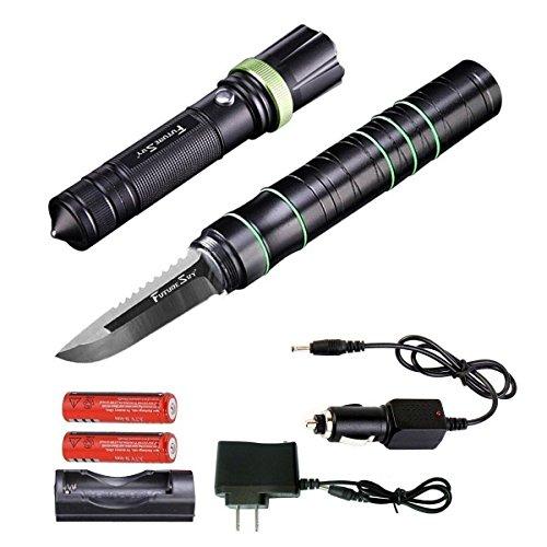 Futuresky 3-in-1 multi-funktionale taktische Taschenlampe Messer - Survival Ausrüstung Kit-Messer mit Wiederaufladbare Einstellbare Maglite Led Taschenlampe für Fahrzeug Jagd Outdoor Camping