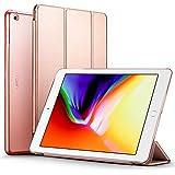 ESR Funda Nuevo iPad 2017 con Auto-Desbloquear y Función de Soporte [Ligera] de Cuero Sintético y Plástico Duro Transparente Esmerilado Cover Cáscara para Apple New iPad 2017 de 9.7 pulgadas -Oro Rosa