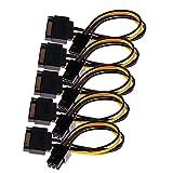 Sharplace Pack von 5/15-Pin SATA Stecker auf 6-Pin Female Grafikkarte Stromkabel Adapter
