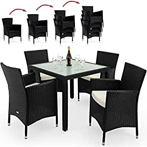 deuba poly rattan sitzgruppe 4 1 schwarz 4 stapelbare st hle 7cm dicke. Black Bedroom Furniture Sets. Home Design Ideas