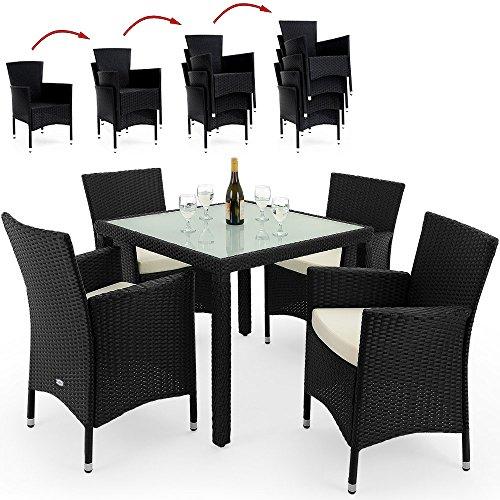 PolyRattan Sitzgruppe 4+1 Gartenmöbel Lounge Sitzgarnitur Essgruppe ✔ stapelbare Stühle ✔ wetterfestes Polyrattan ✔ 7cm Sitzauflagen ✔ Modellauswahl