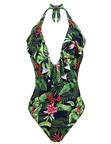 BOLAWOO-77 Damen Badeanzug Figurformende Push Up Einteiler Neckholder Floral Mit Bademode Schwimmanzug Frauen Badeanzug Mode Strand Swimsuit (Color : Grün, Size : S) -