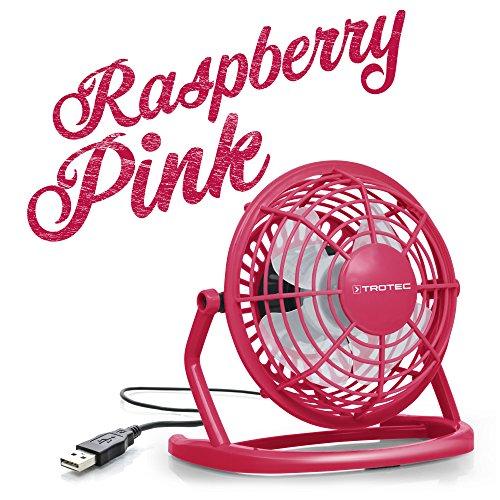 TROTEC TVE 1P Mini USB Ventilator/Fan/Lüfter Raspberry Pink, geräuscharm mit An/Aus-Schalter, 360° Neigungswinkel (Kleine Fan-pink)