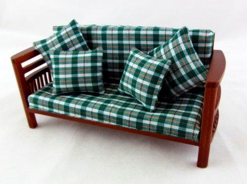 Preisvergleich Produktbild Puppenhaus Miniatur Loungemöbel Walnussholz Familie Zimmer Sofa-w Kissen