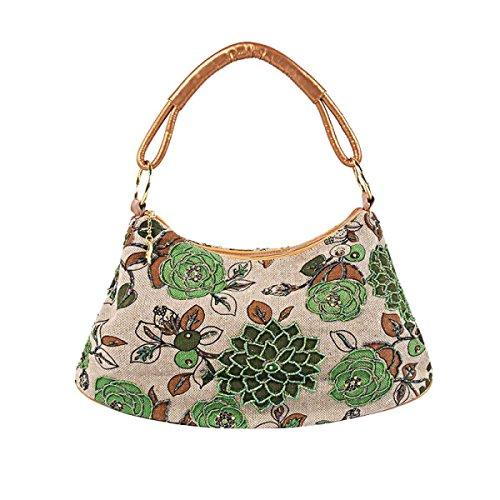 Casual Bag Abendtasche Leinen Einfache Handtasche Der Frauen Green