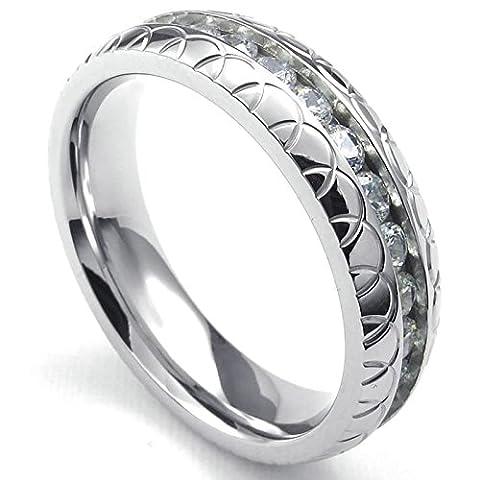 Aooaz Gravure Libre Ring For Men Women Channel Set CZ Zirconium Crystal Silver Pour La Taille 54 Nouveauté