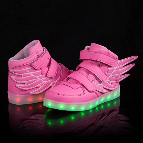 SAGUARO Kinder Jungen Mädchen Bunte LED leuchtet Sportschuhe Sneakers athletische Schuhe mit Flügel Rosa