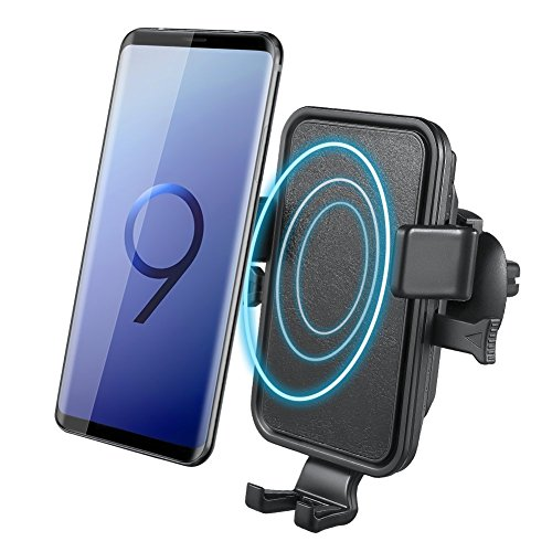 Wireless Charger Auto, NOVETE Qi Autohalterung, Kfz-Ladegerät induktive ladestation für Samsung S9/S9 Plus/S8/S8 Plus/Note 8/S7/S7 Edge/S6 Edge Plus/Note 5, Standard für iPhone 8/8 Plus/iPhone X