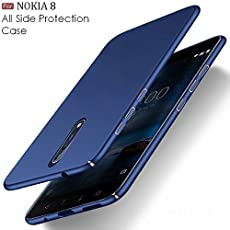 Sunny Fashion All Angle Protection 360 Degree Ultra-Slim Lightweight Matte Hard Case Back Cover for Nokia 8 - (Blue)