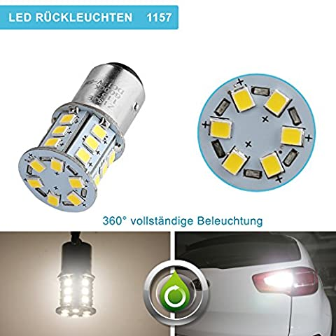 ZISTE LED Tail Light Bulbs,LED Car Bulbs, 2835SMD BA15D 1157,Pack of 2, Xenon White