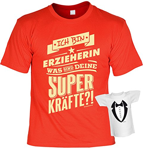 Berufe/Spaß/Fun-Shirt-Set inkl. Mini-Shirt/Flaschendeko: Ich bin Erzieherin Was sind Deine Superkräfte?! tolles Geschenkset Rot