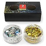 ARTEZA Purpurina holográfica multiusos   Set de 2 tarros de 5 gr  Copos brillantes de Oro y Plata   Botes de purpurina gruesa para maquillaje de Halloween, fiestas y manualidades