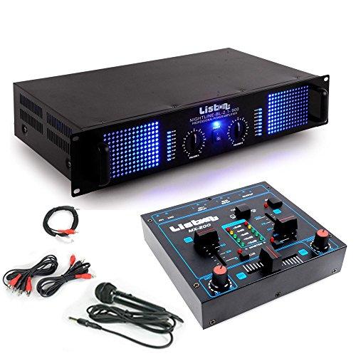 etc-shop PA Erweiterungs Anlage 2400 Watt Verstärker Kompakt Mischpult DJ-Add-on 6
