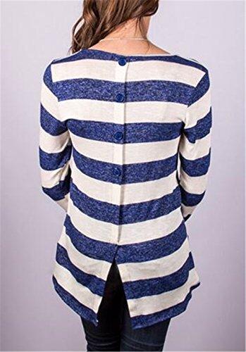 Tayaho Blouse à Manches Longues Femme T-Shirt Col Rond Casual Tops Rayures Style Pull Détendu Basique Blouse Classique Confortable blue