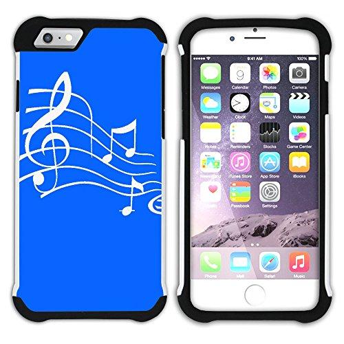 Graphic4You Musik Noten Muster Design Hart + Weiche Kratzfeste Hülle Case Schale Tasche Schutzhülle für Apple iPhone 6 Plus / 6S Plus (Aqua Blau) Königsblau