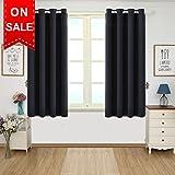 TEKAMON Blackout Curtains Thermal Insulated Grommet Draperies Room darkening Panels for Living room, Bedroom, Nursery by (W46 x L54, Black)