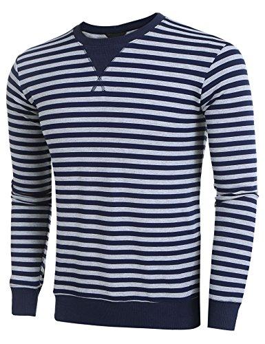 Burlady Herren Langarmshirts Basic T-Shirts Gestreift Pullover Freizeit Tops Shirts Langarmshirts Dunkel Blau